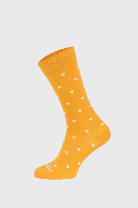 Fusakle zokni pöttyös, mustársárga