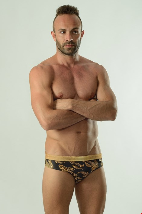 Cyprinus férfi úszónadrág, arany-fekete