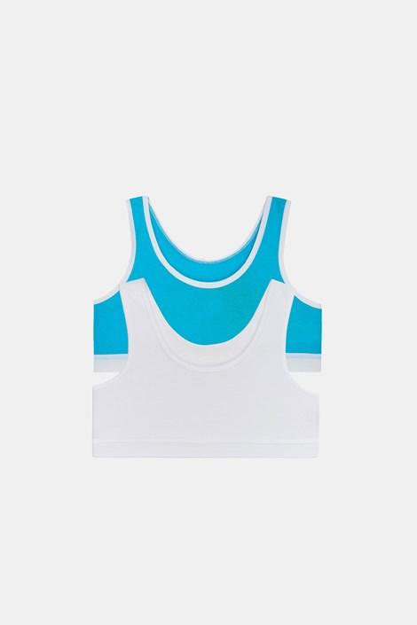 2 DB Crop basic lányka top, kék-fehér