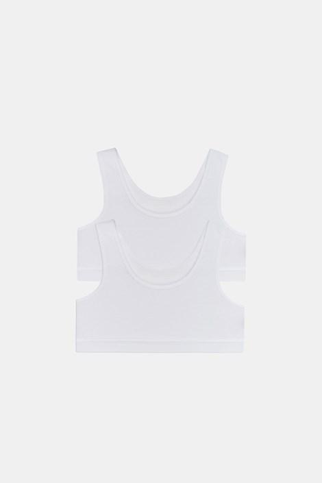 2 DB Crop basic lányka top, fehér