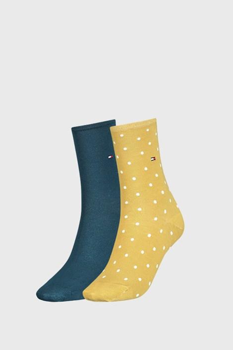 2 PÁR Tommy Hilfiger Dot sárga női zokni
