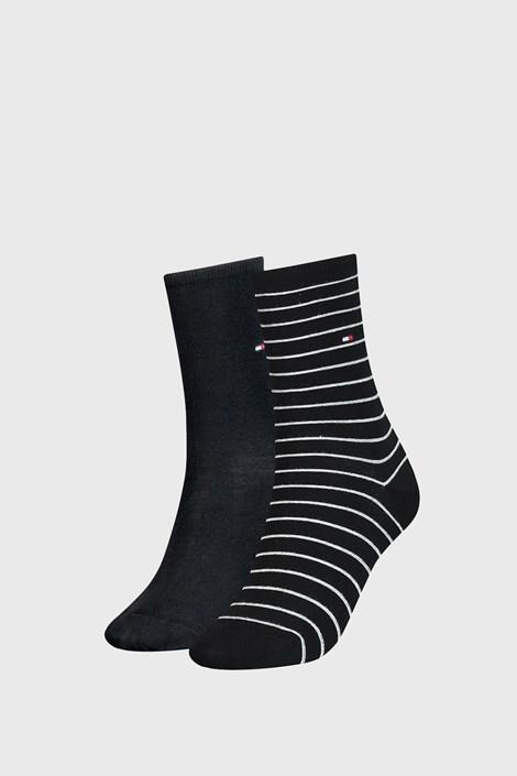 2 PÁR Tommy Hilfiger Small Stripe Black női zokni