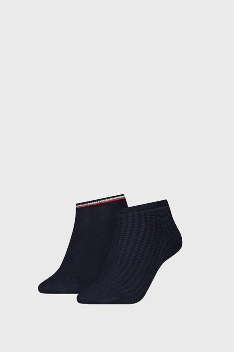 2 PÁR Tommy Hilfiger Wafle Navy női zokni