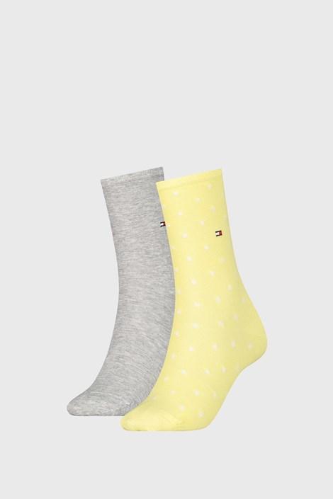 2 PÁR Tommy Hilfiger Dot Yellow női zokni