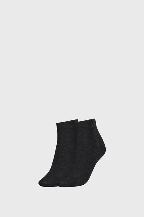 2 PÁR Tommy Hilfiger Lurex fekete női zokni