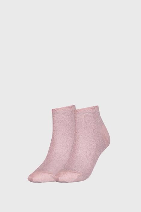 2 PÁR Tommy Hilfiger Lurex rózsaszínű női zokni
