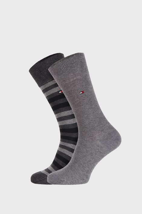 2 PÁR szürke zokni Tommy Hilfiger Duo stripe