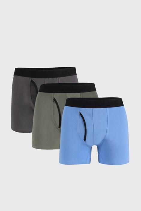3 DB kék-szürke boxeralsó Organic Cotton