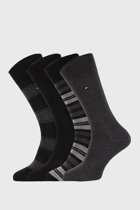 4 PÁR fekete-szürke zokni Tommy Hilfiger