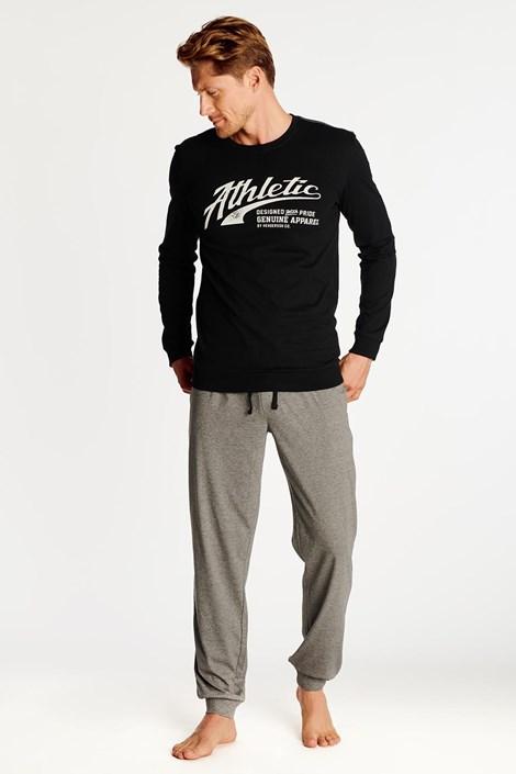 Fekete-szürke színű férfi pizsama Optim