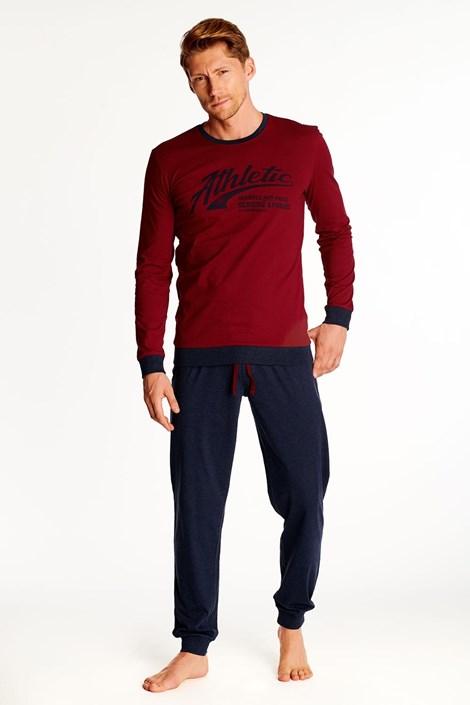 Fekete-piros színű férfi pizsama Optim