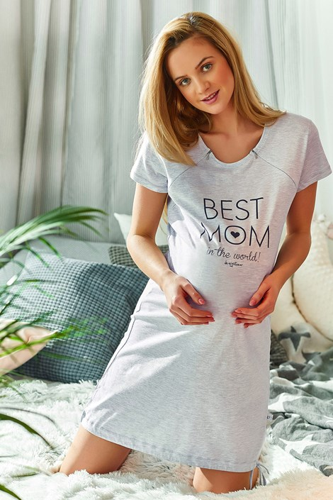 Best mom kismama szoptatós hálóing, szürke