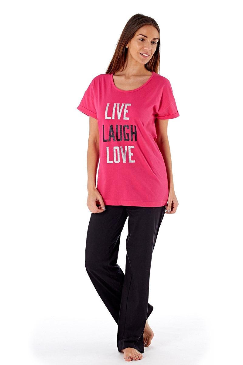 Laugh Pink - női pamut pizsama  6384358497