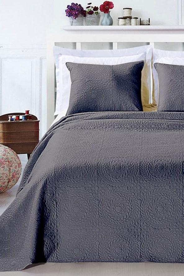 Elodie ágytakaró és párnák, sötétszürke