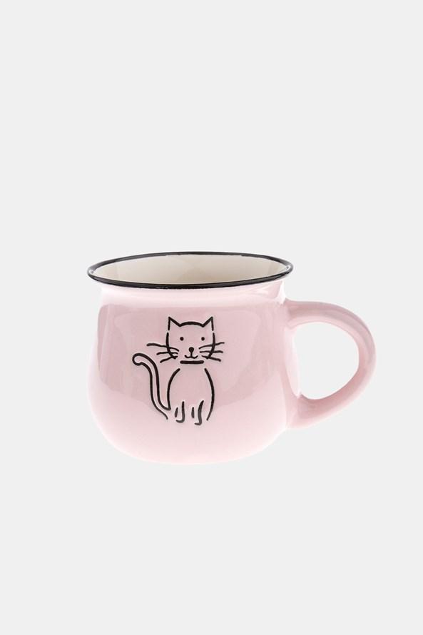 Kerámia bögre cicával, rózsaszínű, 368 ml