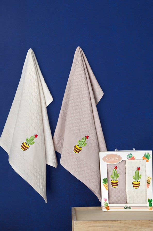 Gofri mintás konyharuhák ajándékszettben, kaktusz