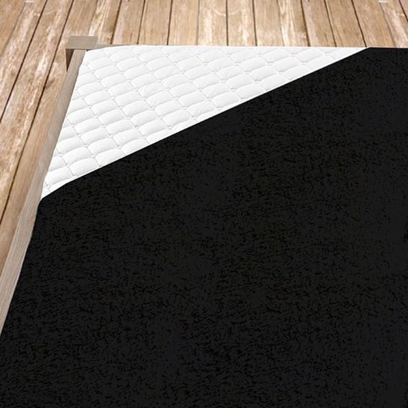 Fekete frottír gumis lepedő