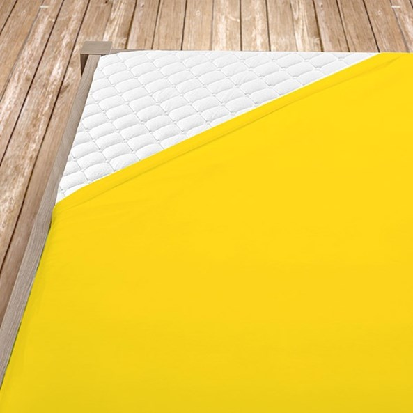 Sárga pamut jersey gumis lepedő