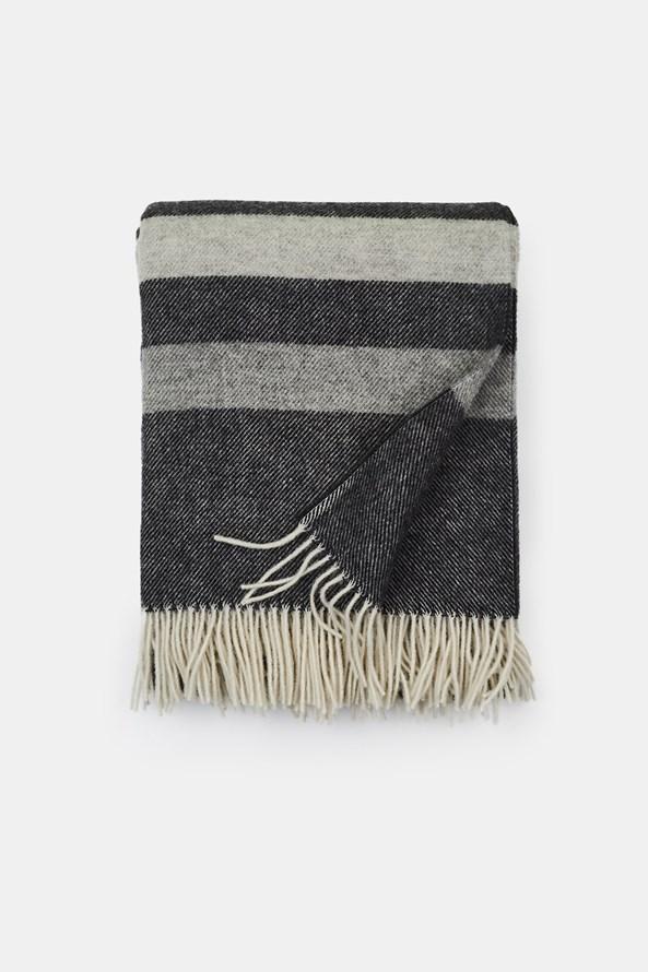 Stripe luxus gyapjú pléd, szürke