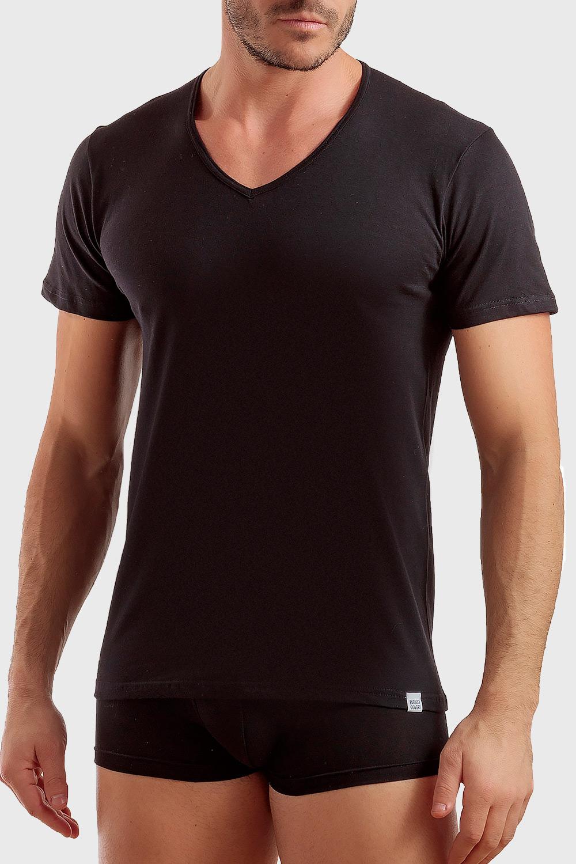 Basic férfi pamut póló, V-kivágással fehér M