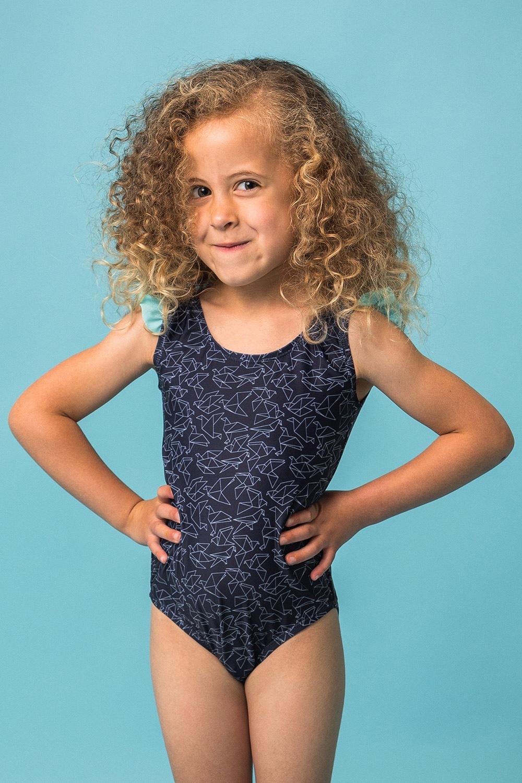 Rosalie egyrészes lányka fürdőruha kék 92
