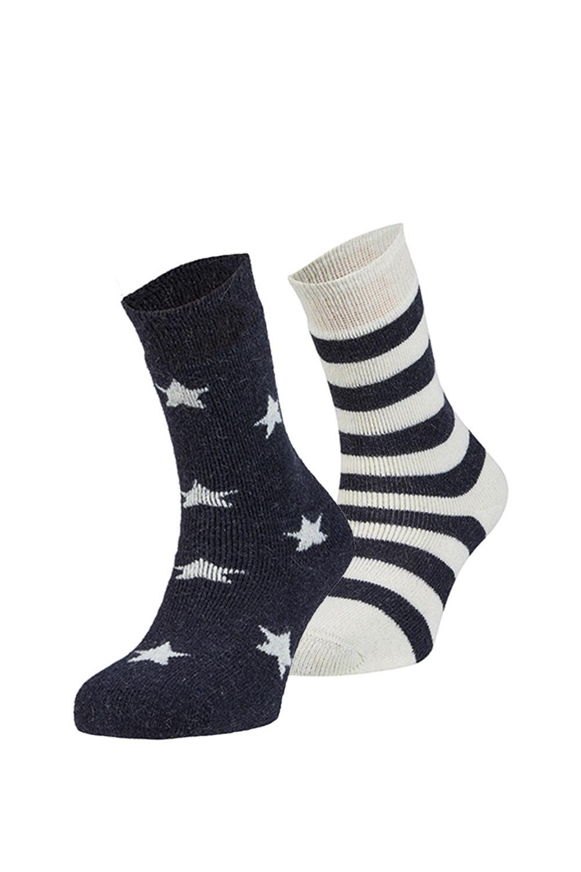 Estrella meleg zokni, 2 pár 1 csomagban bézs-kék uni