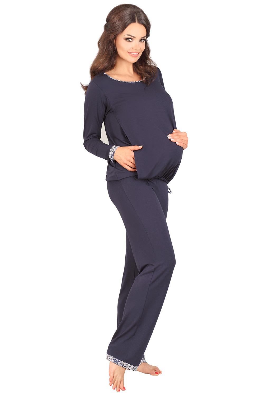 Adria kismama szoptatós pizsama sötétkék 40