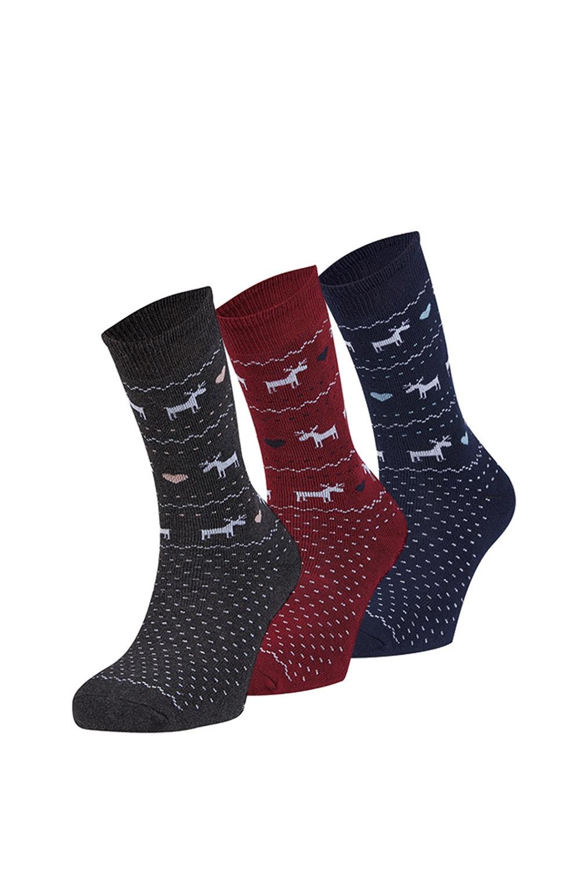 Sabado meleg zokni, 3 pár 1 csomagban színes uni