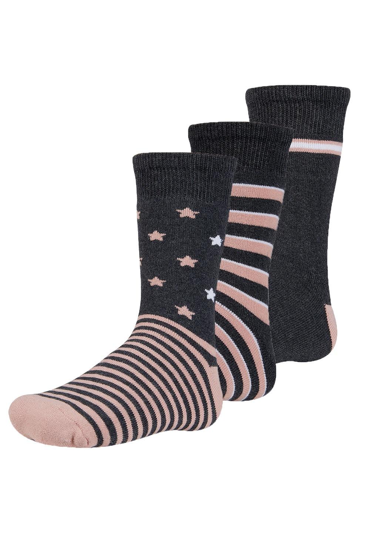 Abelu meleg gyerek zokni, 3 pár 1 csomagban feketés-rózsaszín 26-28
