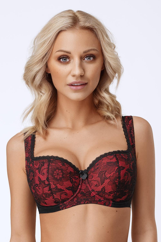 Natalia Half Bardot Beige bélelt melltartó fekete-piros 70/B