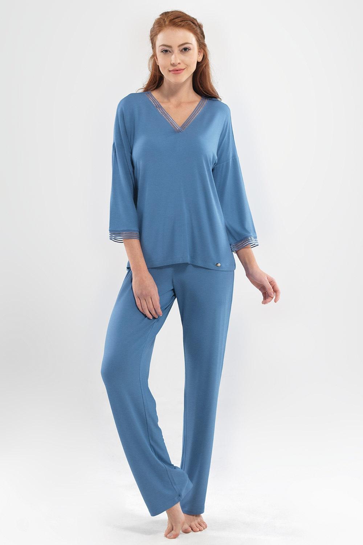 Emma luxus női pizsama kék S