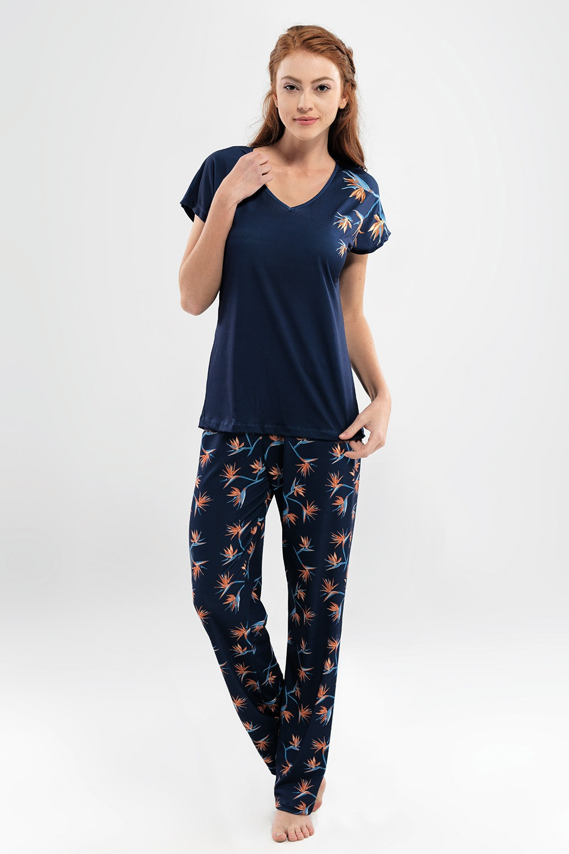 Valeria női pizsama, hosszú kék S