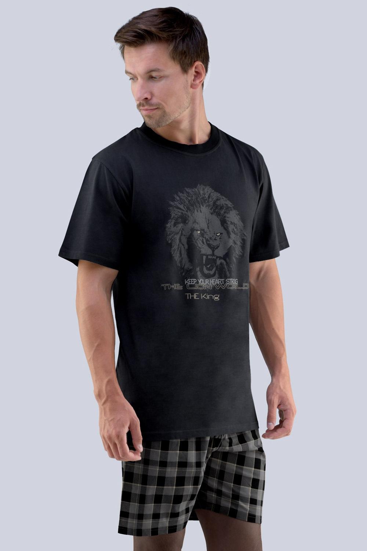 GINO Mirek férfi pizsama szürkés-fekete S