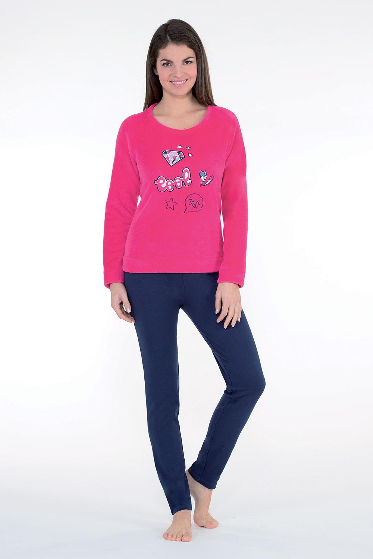 Badge női meleg pizsama, rózsaszín kék/rózsaszín S