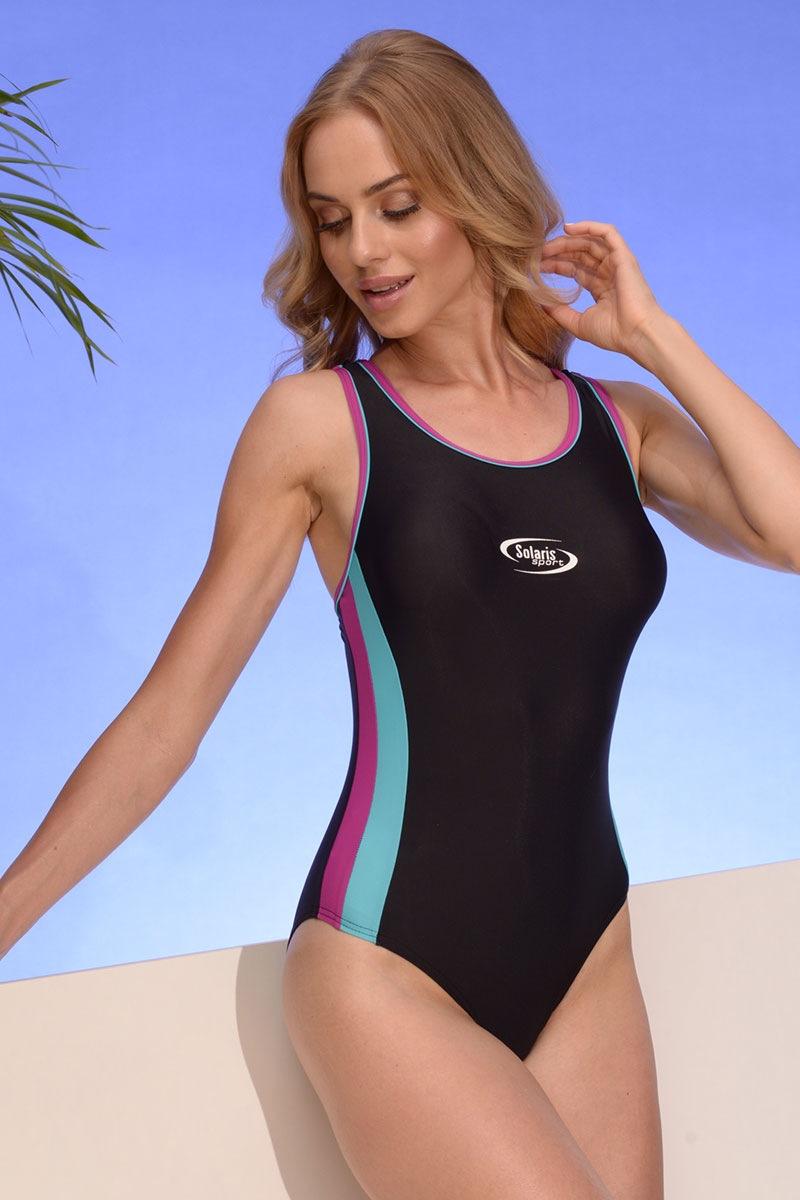 Alex 04 egyrészes női sport fürdőruha feketés-rózsaszín S
