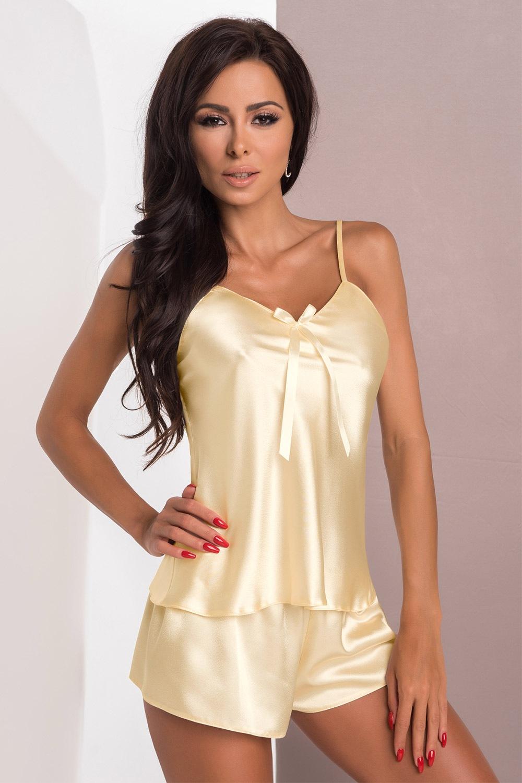 Aria Cream szatén női szett krémszín S
