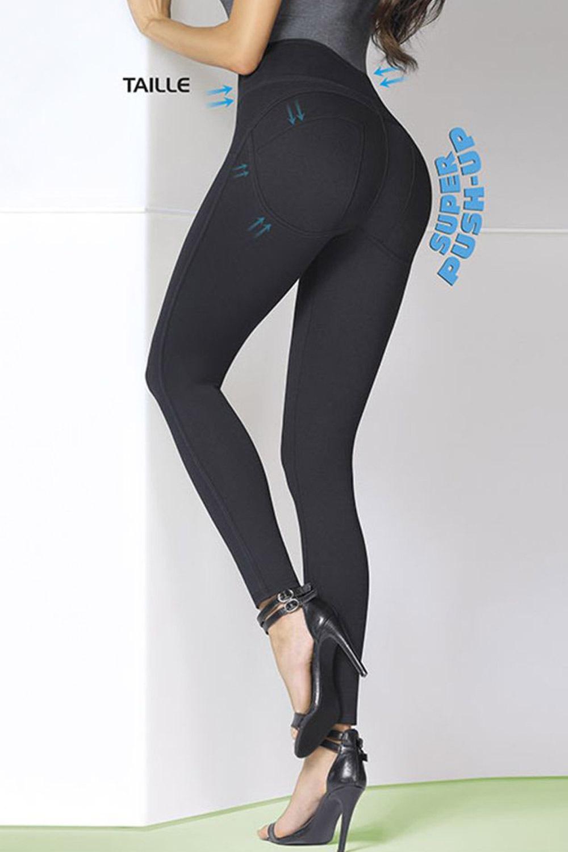 Asami női leggings, Push-Up hatással fekete S