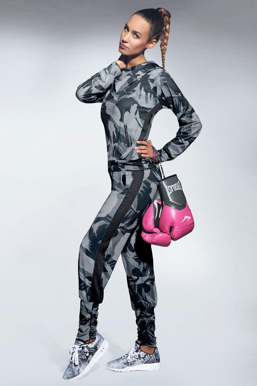 Athena női sport szabadidő nadrág szürkés-fekete S