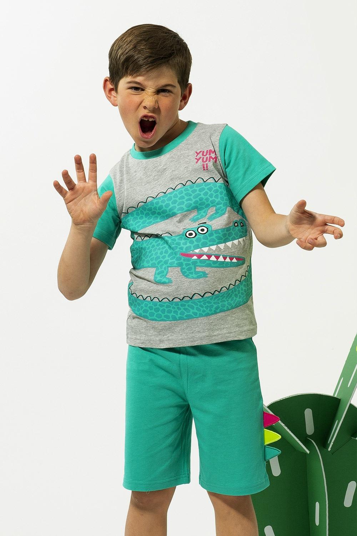 Yum fiú pizsama szürkészöld 3