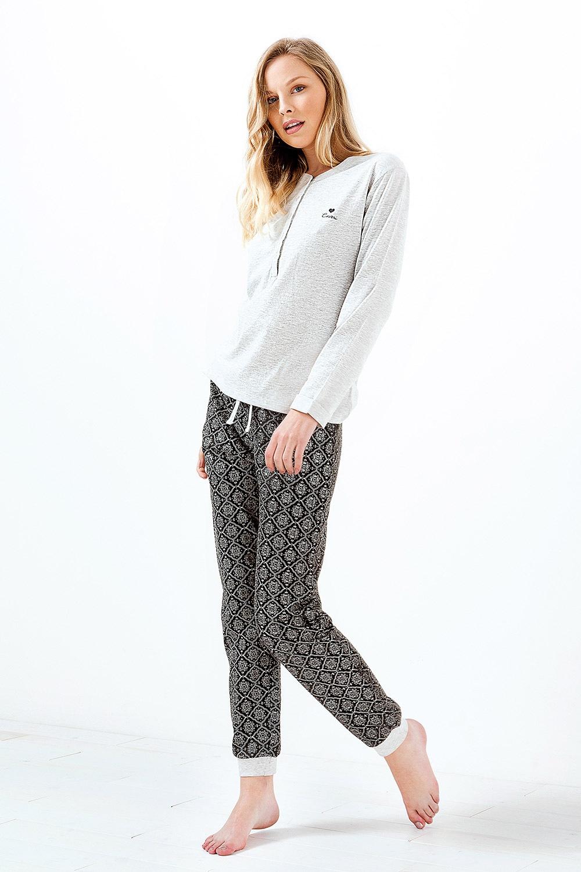 Charlotte női pizsama, melange melange S
