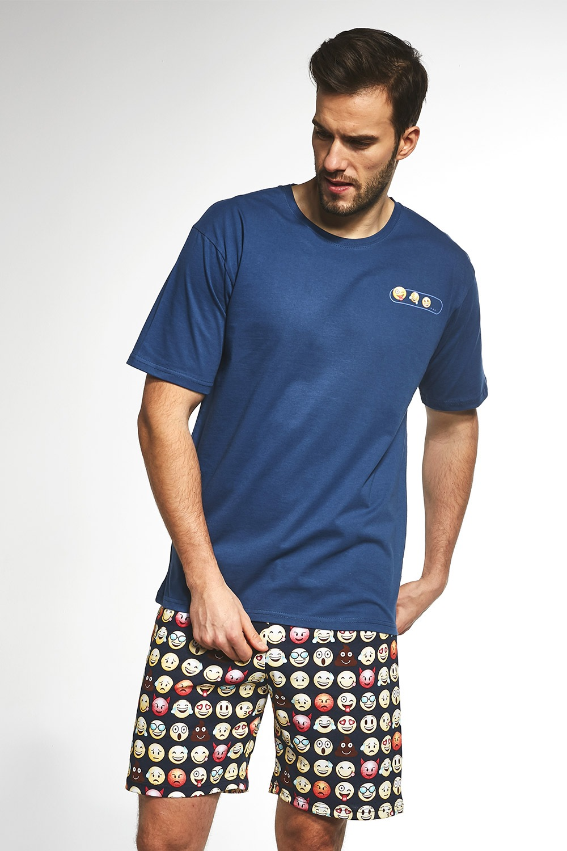 Emoticon férfi pizsama kék S