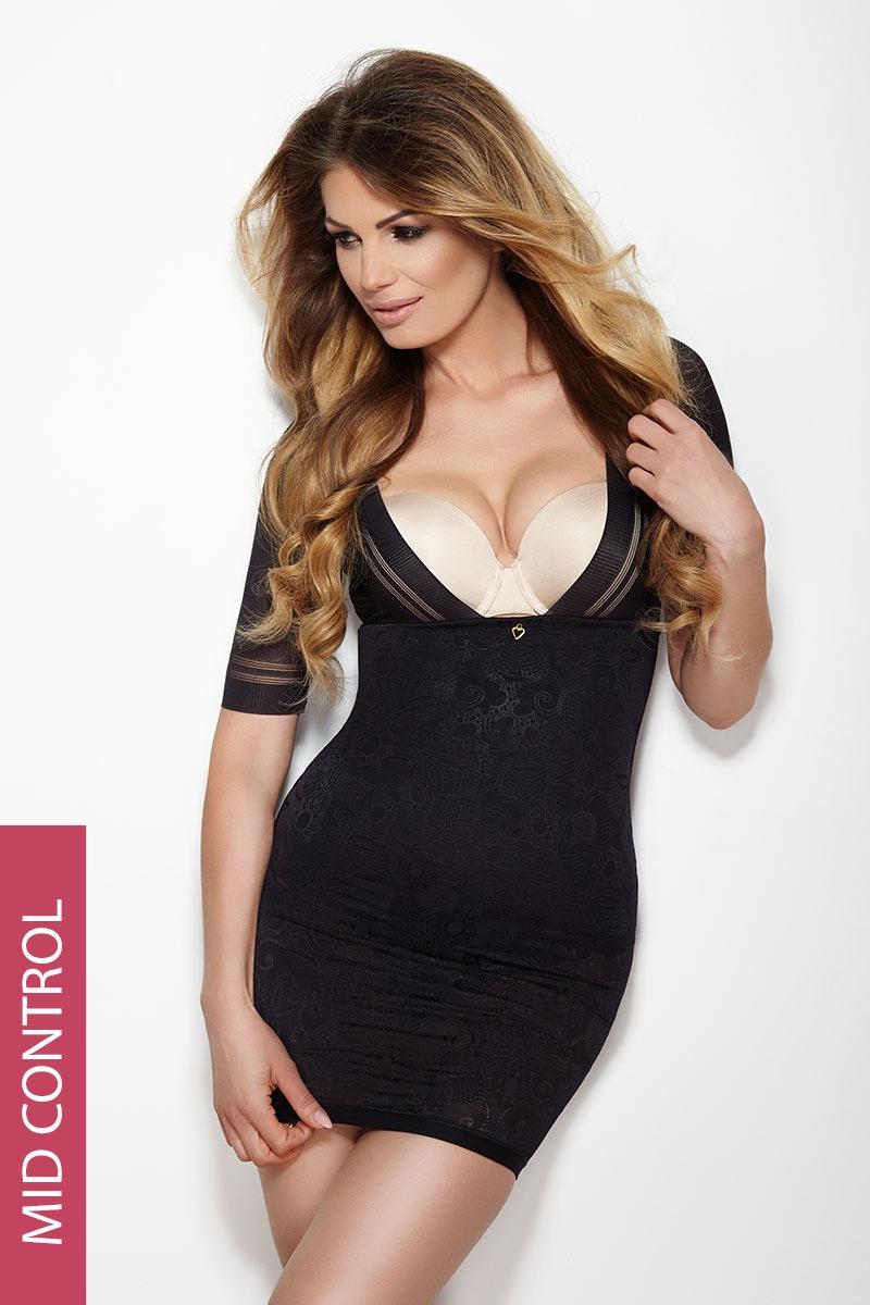 Glossy, alakformáló fekete női ruha fekete XS