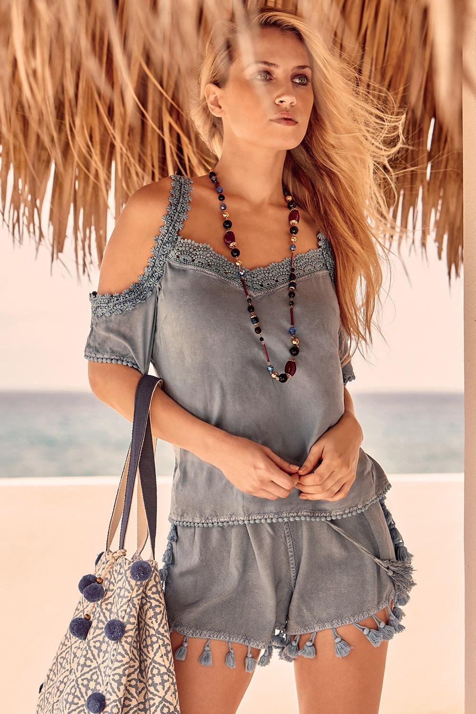 Erika női strand póló kék S