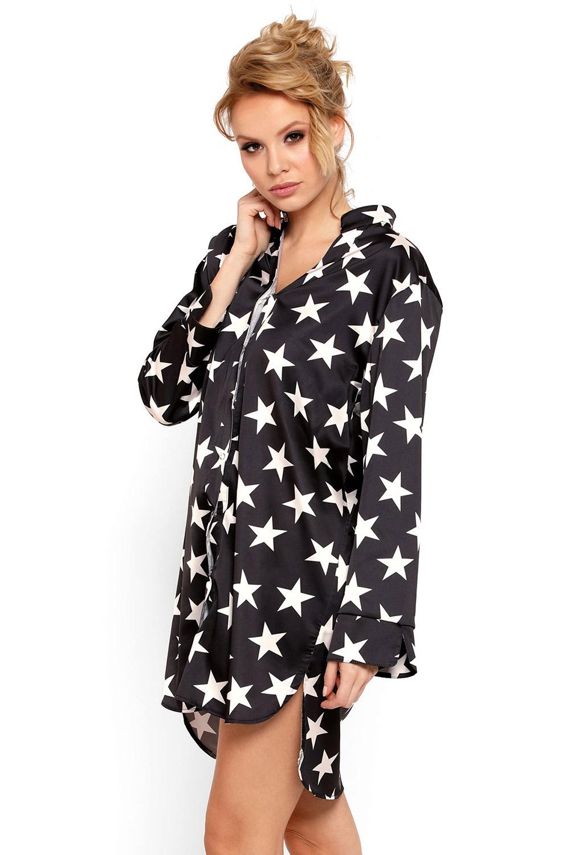 Stars luxus szatén hálóing fekete S