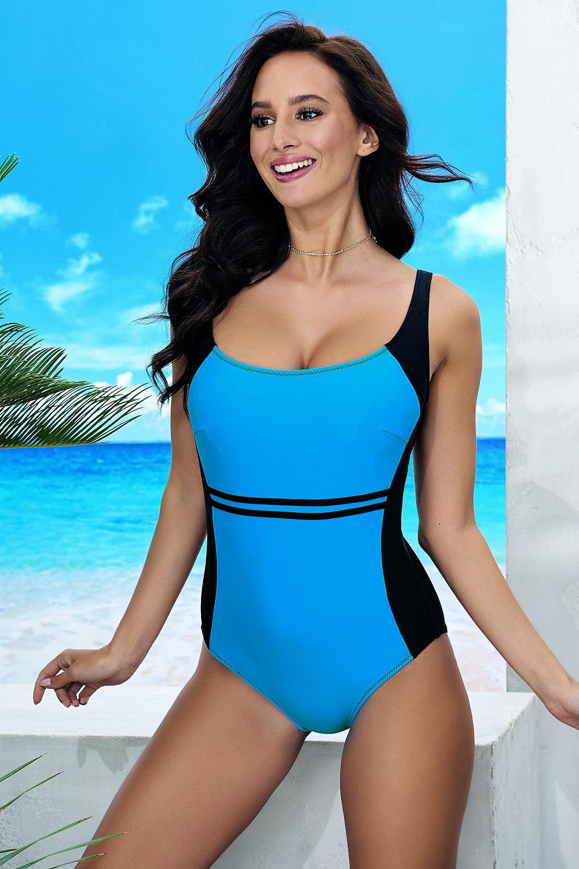 Bret Blue egyrészes női fürdőruha kékes-fekete 75/D