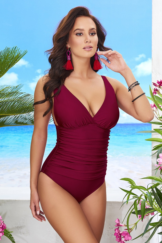 Sofia Vine egyrészes női fürdőruha borszín S