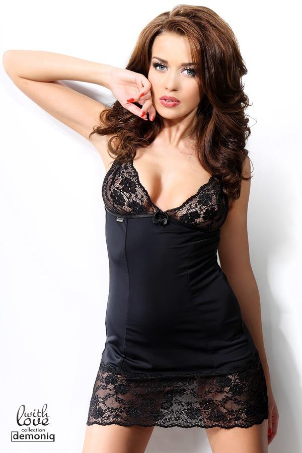 Rachel szett - luxus hálóing és női alsó fekete S