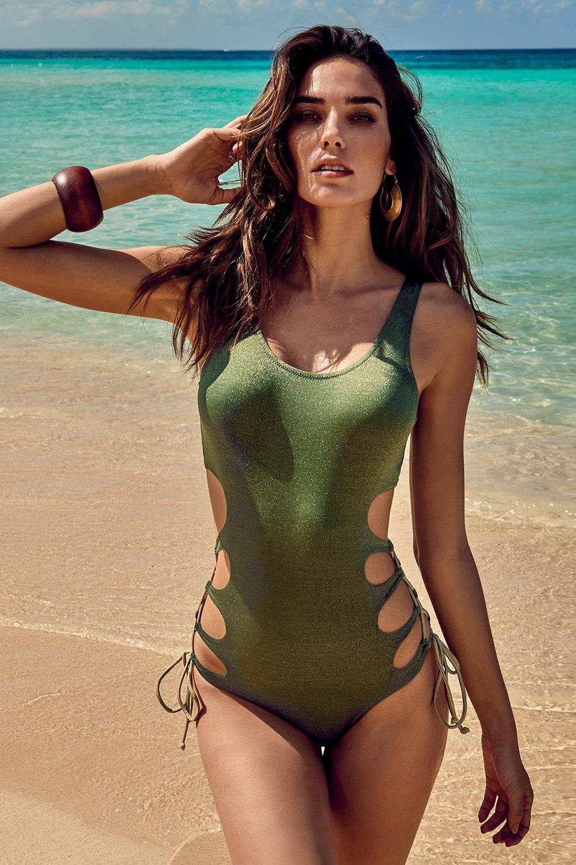 Maura egyrészes női fürdőruha zöld 36