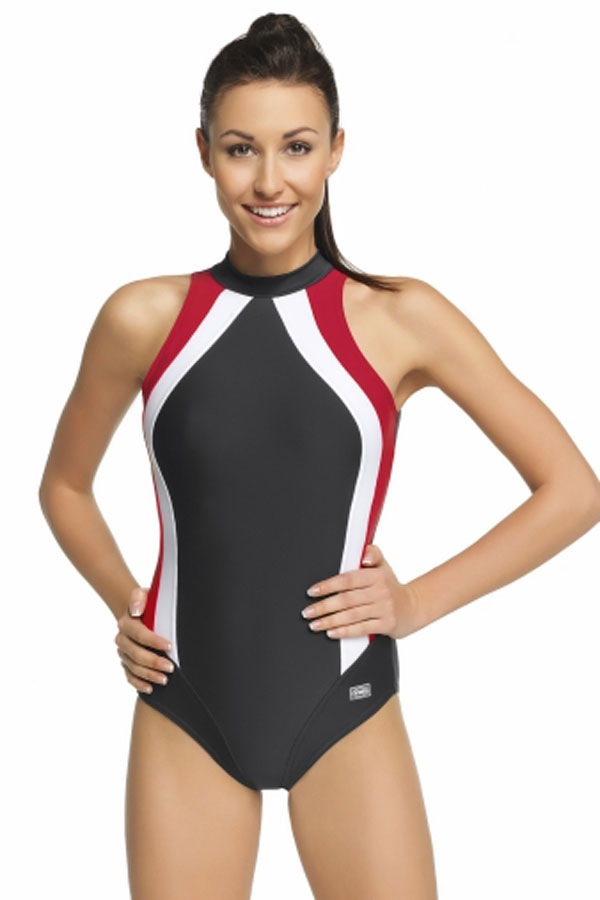 Olivia női egyrészes fürdőruha fekete-piros 36